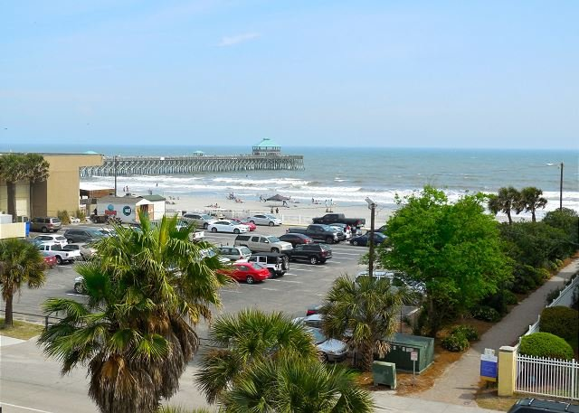 View from the Patio - Pier Pointe Villas C301 - Great Top Floor View - See Dolphins and Surfers - Folly Beach - rentals