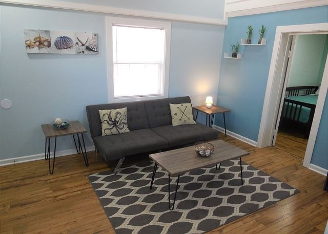 Living Area - Sunny Side Up - Renovated Duplex just blocks from the Beach!! - Blue Mountain Beach - rentals
