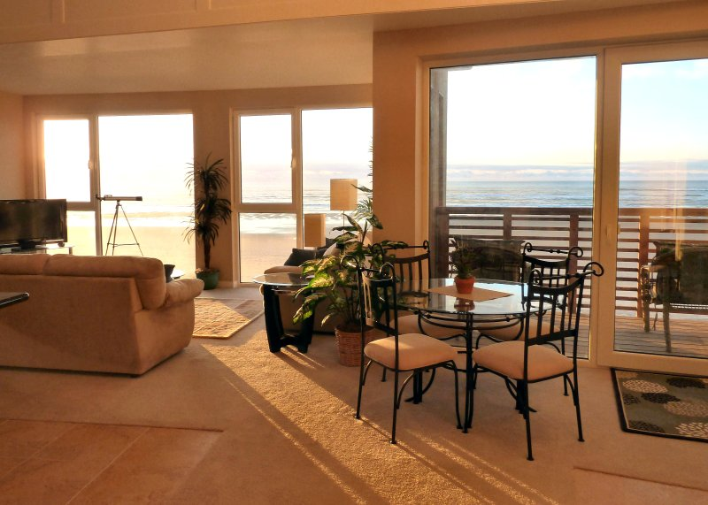 Sunny View from the entrance - Ocean Front 'Windows on the Sea' Spectacular View! - Rockaway Beach - rentals