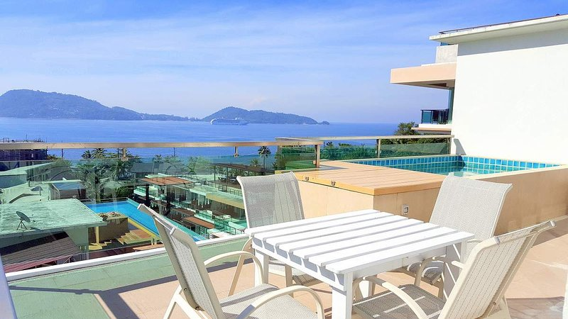 Seaview from balcony with private plunge pool - Amazing Sea View Apartment in Patong with Pool - Patong - rentals