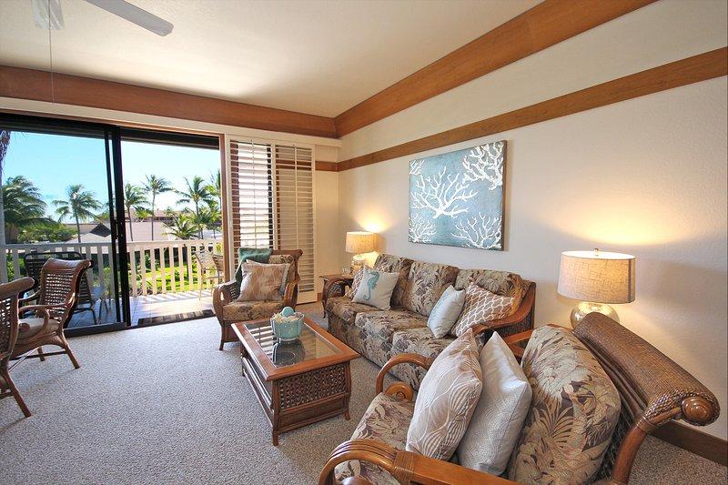 Living Room and Lanai - Free mid-size car with Kiahuna 312 Lovely one bedroom at Kiahuna Plantation - Poipu - rentals