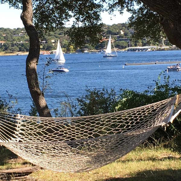 Relax on our hammock and watch all the boats coming into the marina & Gnarly Gar - LAKESIDE TOWNHOUSE WITH DIRECT ACCESS TO THE WATER - Lake Travis - rentals