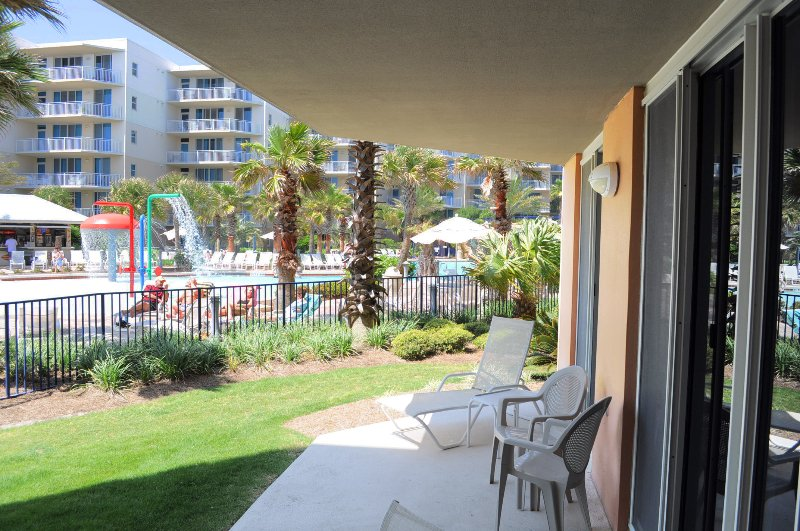 Patio - Ground Level - Walk out to the pool or beach.   Waterscape Resort A108 Fort Walton Beach Florida Okaloosa Island Vacation Rentals - Waterscape Resort, Unit A108 - Fort Walton Beach - rentals