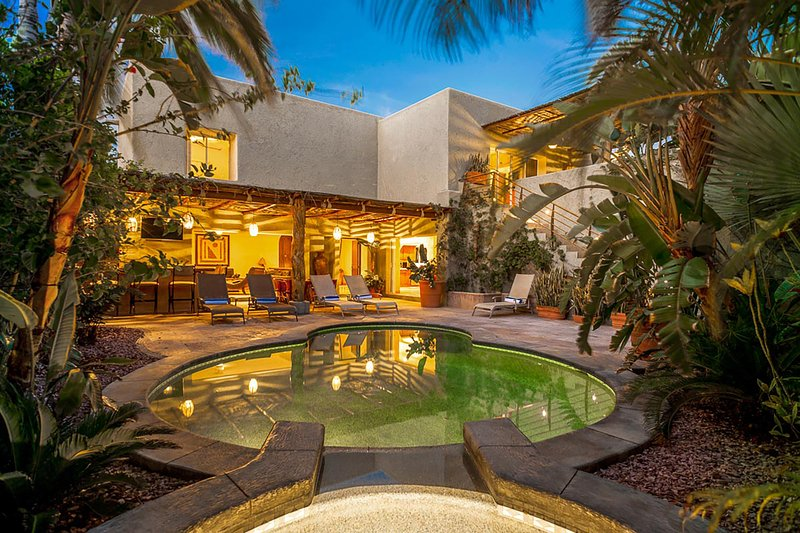 Looking out across the spa and pool as the sun sets - Villa Luna Nueva - Private Villa in Pedregal, Cabo - Cabo San Lucas - rentals