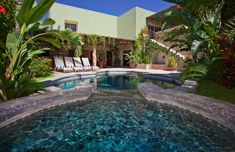 Looking out over the spa across the pool to the patio beyond - Villa Luna Nueva - Private Villa in Pedregal, Cabo - Cabo San Lucas - rentals