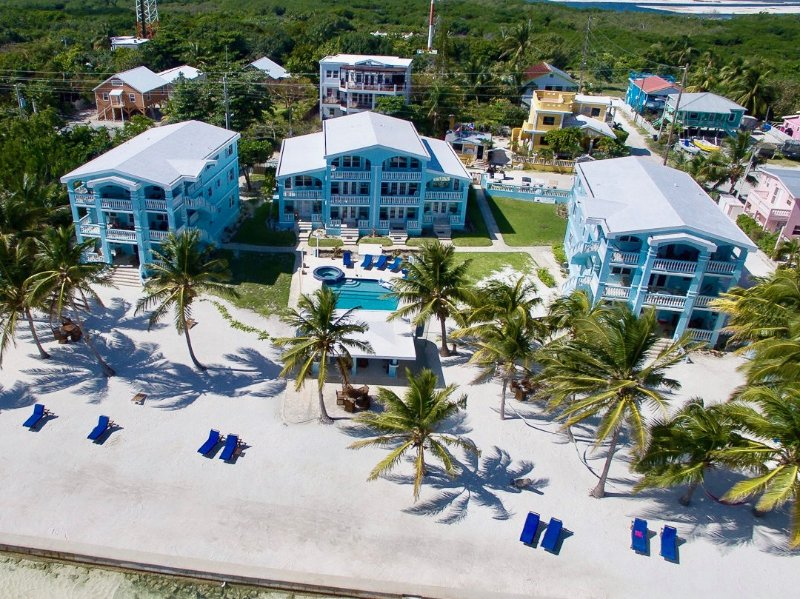 Aerial view of the blue buildings of Sunset Beach Resort!  - Beachfront with pool, bikes, kayaks & more! - San Pedro - rentals