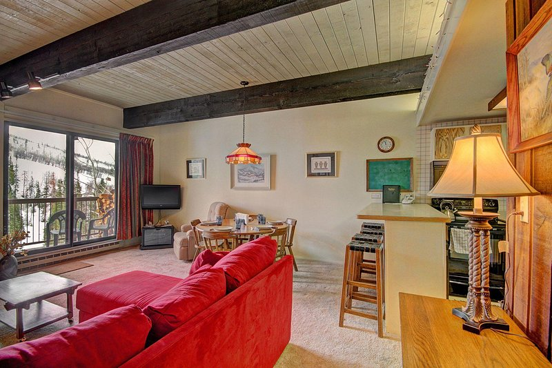 "SkyRun Property - ""Storm Meadows Club B217"" - This welcoming living room has a wood-burning stove and a view of the slopes! - Storm Meadows Club B217 - Steamboat Springs - rentals"