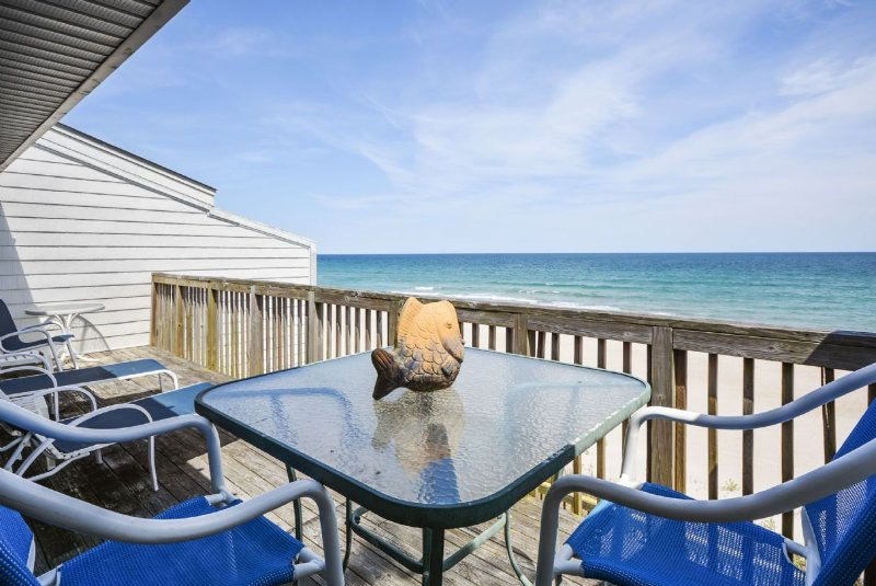View from Oceanfront Deck - Queen's Grant E-215 - Topsail Beach - rentals