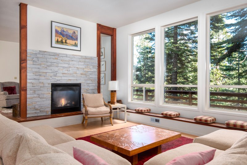 wall of windows, double-sided fireplace & oversized couch - Chesa Madrisa - Big Trees Premium Mountain Home - Arnold - rentals