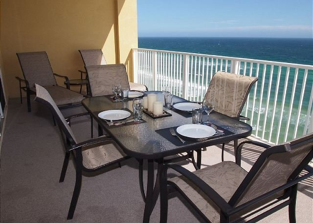 Balcony - Highly Rated, Gorgeous, Gulf Front, Tropic Winds Condo, Free Beach Service! - Panama City Beach - rentals