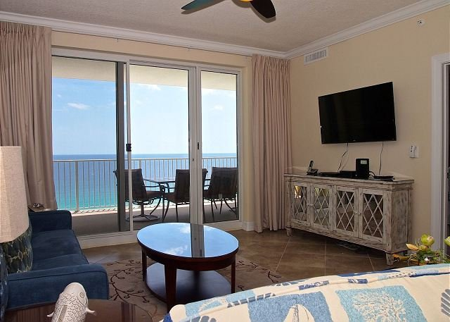 Living Room - Sit Back, Relax, and Enjoy the Beach in this Gulf-front Condo, Great Location - Panama City Beach - rentals