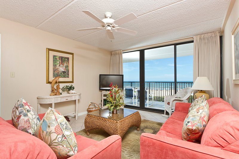 Living room area looking toward the Gulf of Mexico - Suntide III 409 - South Padre Island - rentals