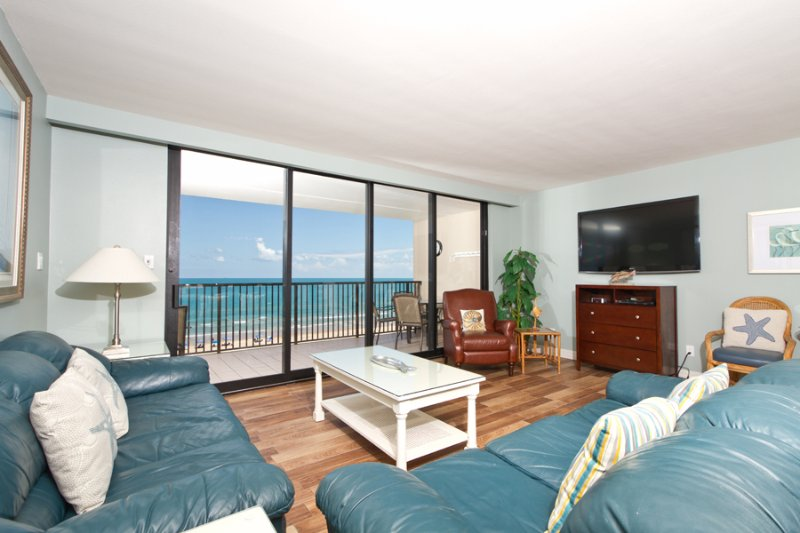 View of the Gulf/Beach from living area - Suntide III 803 - South Padre Island - rentals