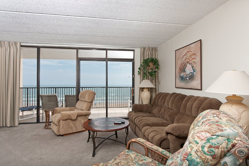 "Living room area has four recliners for your comfort along with 40"" flat screen TV - Suntide III 708 - South Padre Island - rentals"