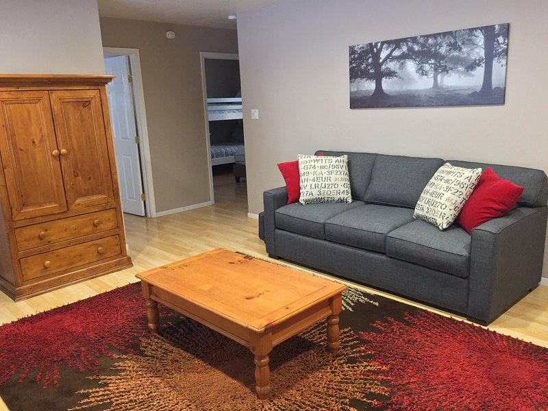 Living Room: Sofa and Cable TV behind Armoire - Relaxation at Tahoe Escape - South Lake Tahoe - rentals