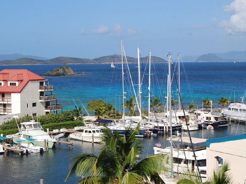 Our gorgeous view from our balcony towards the British Virgin Islands and our marina - Sapphire Jewel - Red Hook - rentals