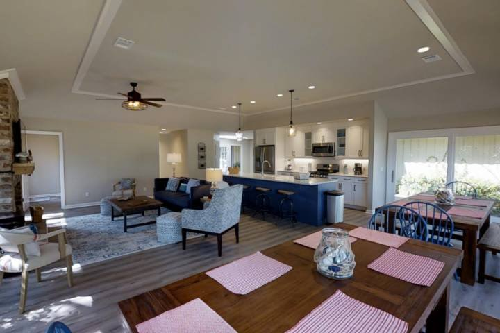Open Dining, Family Room, Kitchen.  Farm tables seat 12 comfortably.  Four stools at the island.  ENJOY! - Completely Renovated for 2017 on Harbour Town Golf Course - Sleeps 10  - No - Hilton Head - rentals