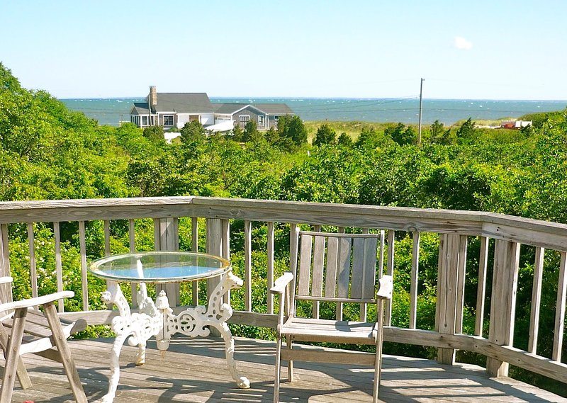 Second level deck provides superb, elevated views of Cape Cod Bay. - Bay Views, 2 Minute Walk to Beach, Sleeps 10-154-B - Brewster - rentals