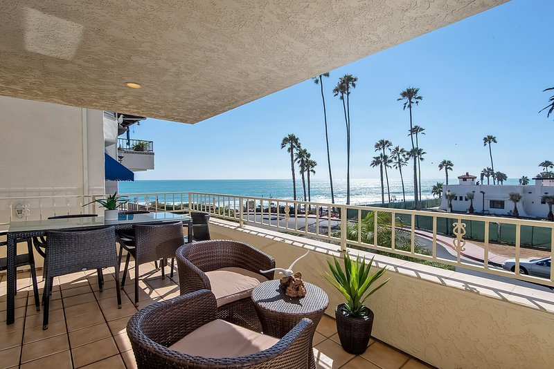 Ocean view balcony includes a dining table for 6, a grill, and additional outdoor seating to enjoy the ocean air! - May Special, $8,000/month! Ocean Views, Steps to beach access at North Beach, San Clemente. - San Clemente - rentals