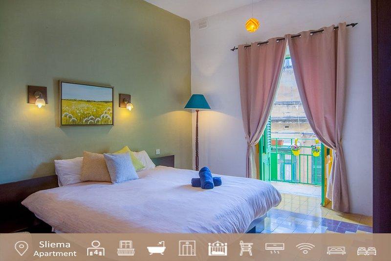 Main bedroom over looking Milner Street  - Seaside Apartments Malta - Sliema Boutique Apartment - Sliema - rentals