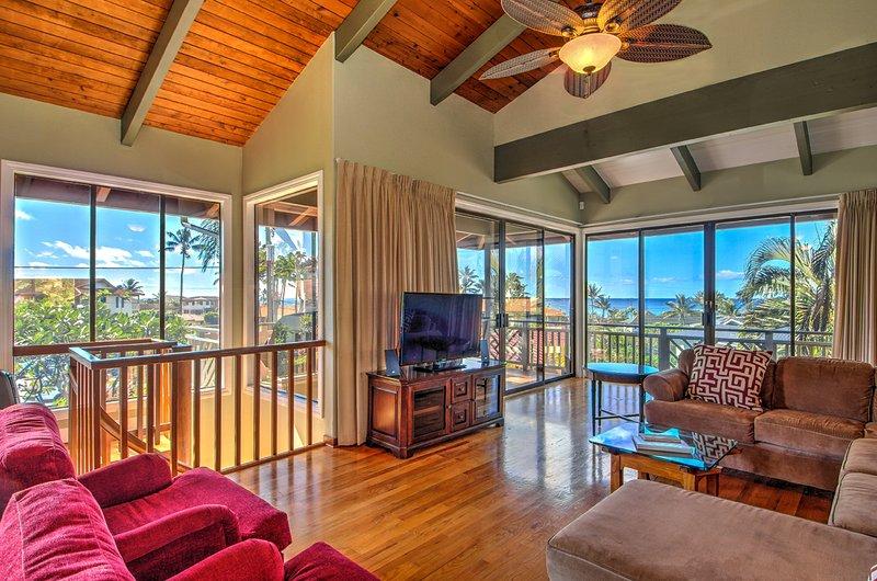 Spacious 2300 sq ft 3 bedroom, 3 bath with ocean views - 2300 sq. ft. Ocean View 3Br/2Ba-A/C-Walk To Beach - Poipu - rentals