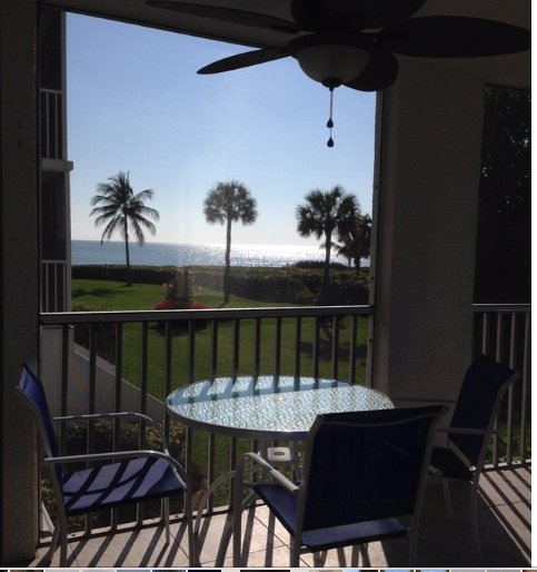 View from the screened in lanai that wraps around the front and side of condo. - Island Beach Club Remodeled Condo Gulf View #210C - Sanibel Island - rentals