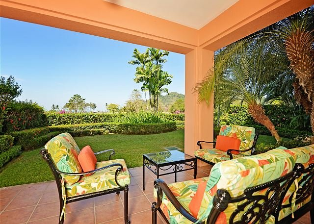Patio with large garden, perfect for early mornings and evenings.    - Amazing Luxury, Spacious Condo, Great View and Close to Resort Amenities! - Herradura - rentals