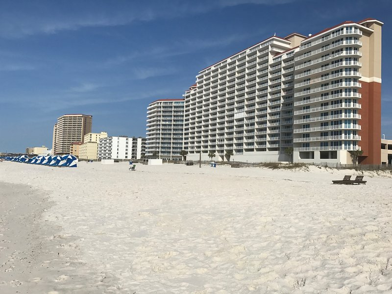 Lighthouse Beach. Lighthouse 401 located east side. Notice the expanded balcony - Lighthouse 401 Gulf Shores Condo  Luxury Corner Unit , expanded wrap balcony - Gulf Shores - rentals