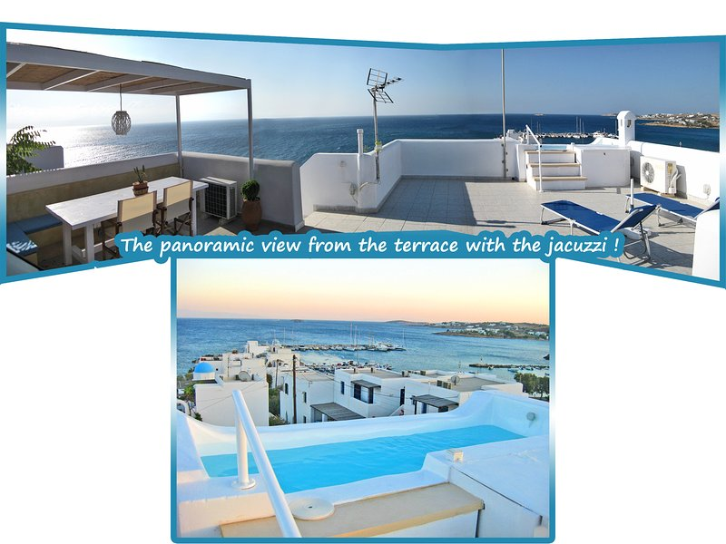 Terrace - the magnificent panoramic view from the terrace with the jacuzzi !! (1) - Seaside 2-Storey Villa with Large Terrace/Jacuzzi - Piso Livadi - rentals