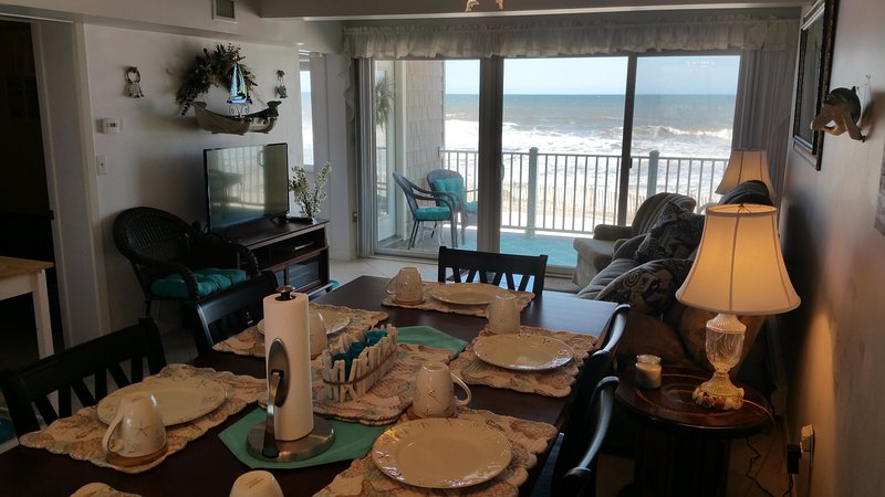 Dining area with 6 high chairs and high table; all dishes & silverware included! - Oceanfront Condo Directly On Beach! - Mantoloking - rentals