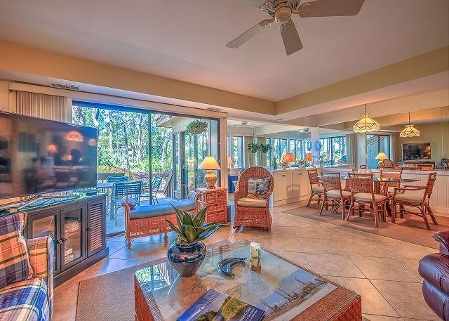 Living Area - 1423 S. Beach Villa - Catch Glimpse of Calibogue Sound & Beach - Hilton Head - rentals