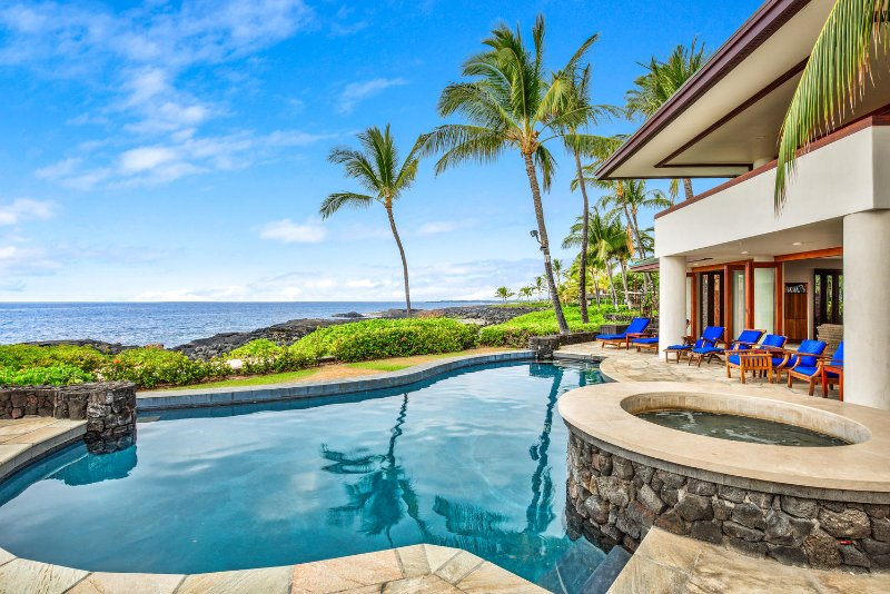 Beautiful Oceanfront Home in Gated Kona Bay Estates Community, Blue Water #34-PHKBE34 - Image 1 - Kailua-Kona - rentals