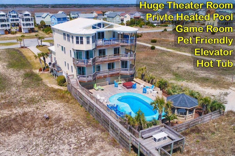 116 Scotch Bonnet - Scotch Bonnett Lane 116 Oceanfront! | Private Heated Pool, Hot Tub, Elevator - North Topsail Beach - rentals