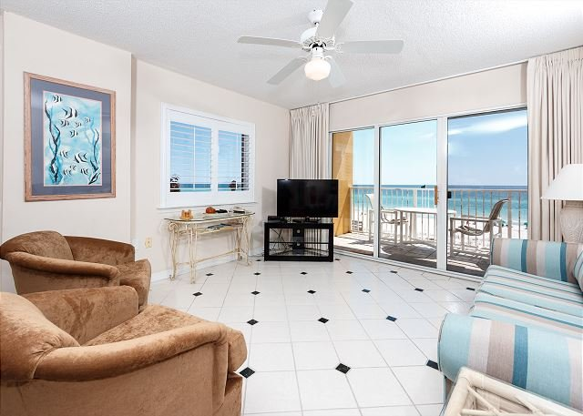 Awesome views from the beach front living room - GD 301: DELIGHTFUL CONDO,  FREE BEACH SERVICE , WIFI, SNORKELING - Fort Walton Beach - rentals