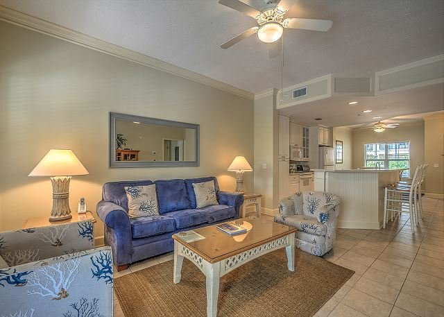 Living Area - 104 NorthShore Place- 2 Bedroom Villa just 100 Yards to the Beach! - Hilton Head - rentals