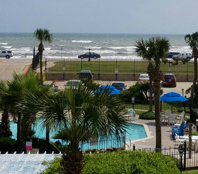Gulf, Beach and Pool View from Private Balcony - Views of Beach, Gulf Waters and Waterfall Pool - Galveston - rentals