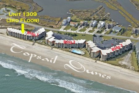 Aerial Photo of 1309 Topsail Dunes - Topsail Dunes 1309 - Sneads Ferry - rentals