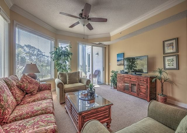 Living Area - 2203 SeaCrest- PRETTY!  Newly Updated 2nd Floor Villa! - Hilton Head - rentals