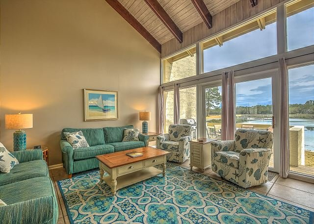 Living Area - 1606 Port Villa - Stunning views of Braddock Cove & Steps to the Marina. - Hilton Head - rentals