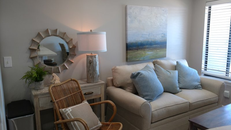 Soothing beach colors of the living room to relax - The Starfish (B312)- AMAZING 3rd Floor View - Tybee Island - rentals