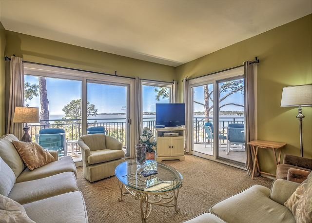 Living Area - 1874 Beachside Tennis - Breathtaking Calibogue Sound views from every room. - Hilton Head - rentals