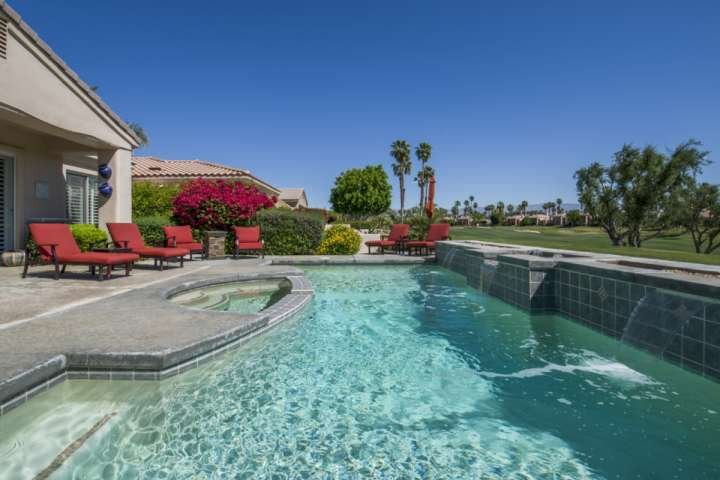Saltwater Pool/Spa and Lounging area - Stunning PGA West Palmer Poolside Home w/Casita - La Quinta - rentals