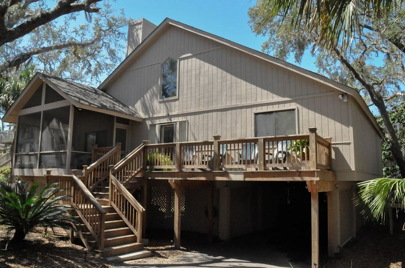 Front of home - 2nd Row Home, Short Walk to Beach, Private Pool & Hot Tub - Hilton Head - rentals