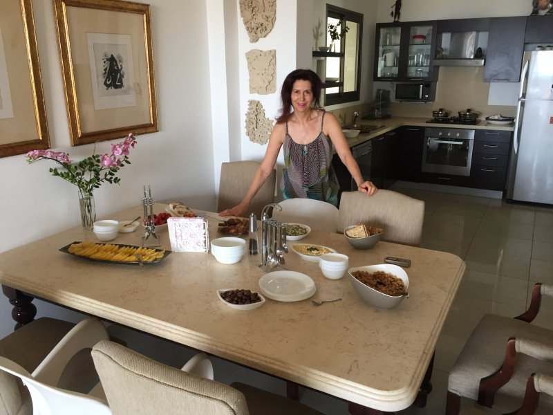Lin in the Dining Area - Luxury Seafront Apartment on Poleg Beach Netanya - Netanya - rentals