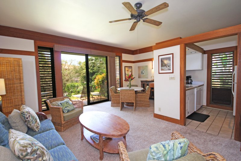 Living Area of KP406 - Kiahuna Plantation 406  *Free mid-size car with*1 bedroom  short walk to beaches - Koloa - rentals