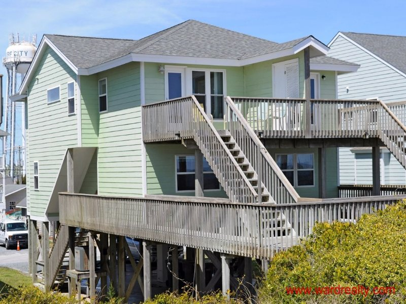 Oceanfront Exterior - 3 BR, 3BA Oceanfront Duplex - Yawl Come South - Surf City - rentals
