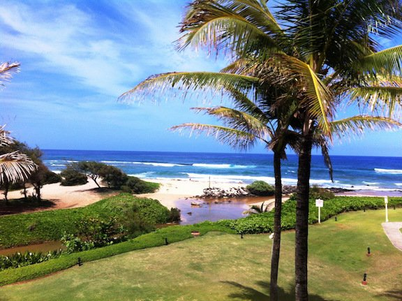 Breath-taking panoramic ocean view from the living room, dining alcove, and large balcony lanai.  - SEE & HEAR OCEAN! KAUAI BEACH VILLAS BEACHFRONT.( LAST MINUTE DISCOUNT! 4/22-29) - Lihue - rentals