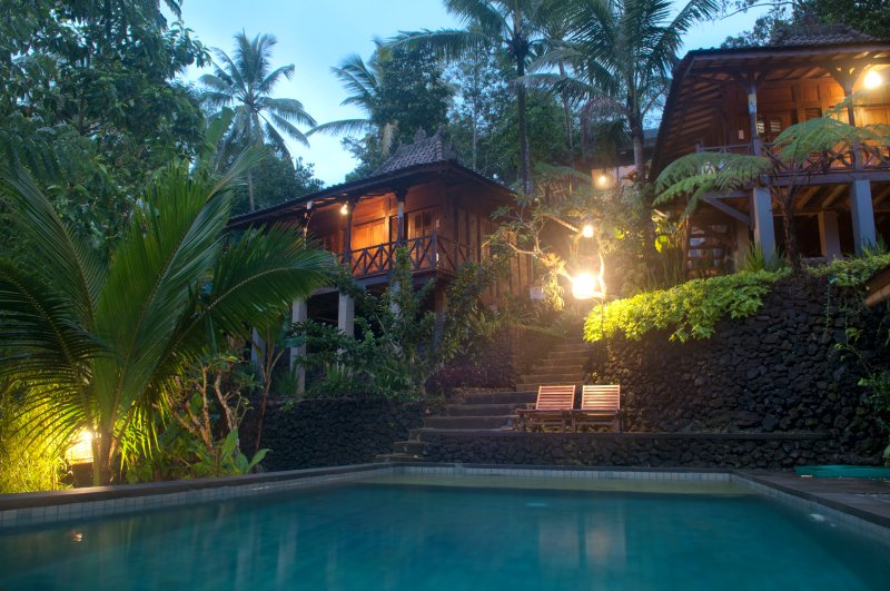 enjoy the sound of nature while relaxing on the lazy chair by the pool - Valley view wooden villa at DD Ubud Villa - Ubud - rentals