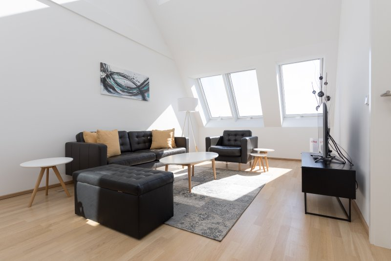 High Ceiling Living room  - New Modern Penthouse Duplex Suite very close to Opera and Karlskirsche #1/8 - Vienna - rentals