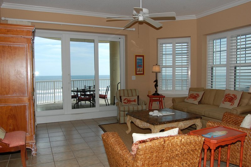 Living Room with Pull Out Sofa and Balcony Access - Ocean Place Unit #95 Family Getaway - Fernandina Beach - rentals